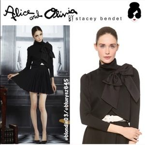 "Alice + Olivia ""Addison"" black bow crop blazer L"